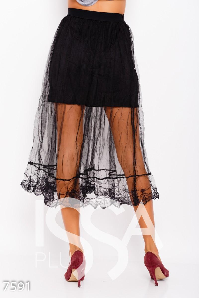 Черная комбинированная юбка с фатином и кружевом