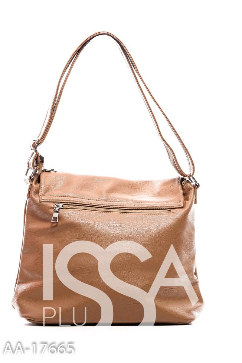 Светло-коричневая сумка через плечо с черной лаковой полоской