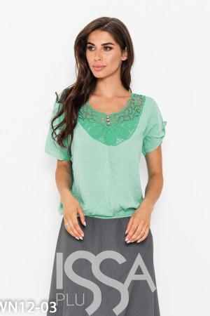 064341cb254a Мятная присборенная блуза с кружевом