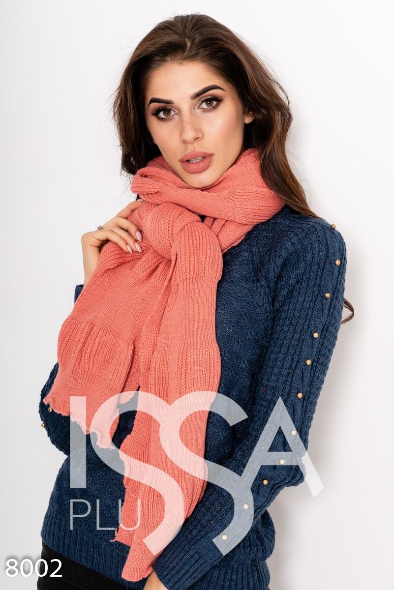 Персиковый шерстяной длинный шарф декоративной вязки