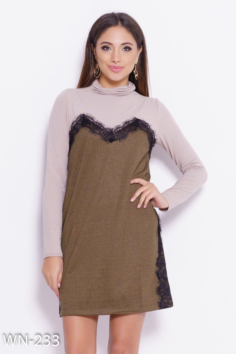 3a9ad6f6cce Комбинированное платье с кружевом и клетчатой вставкой  348 грн. фото 2 ...