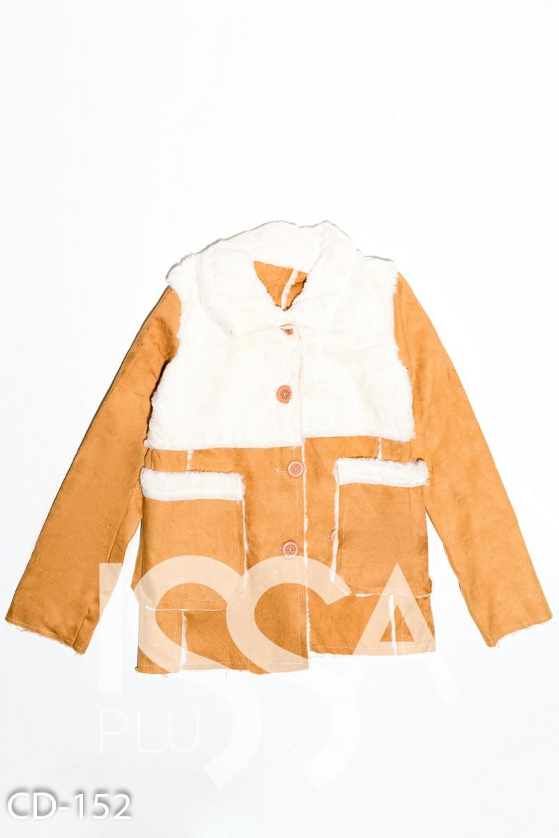 Коричнево-молочная куртка из нубука на меху