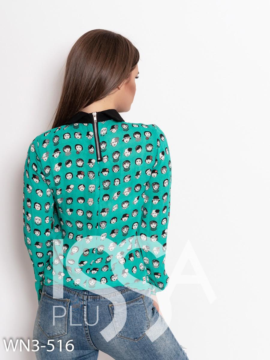 Зеленая шифоновая блуза с принтом