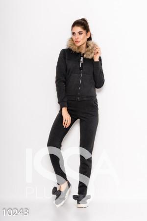 c9a015bc4fc Темно-серый утепленный спортивный костюм на флисе с меховым капюшоном
