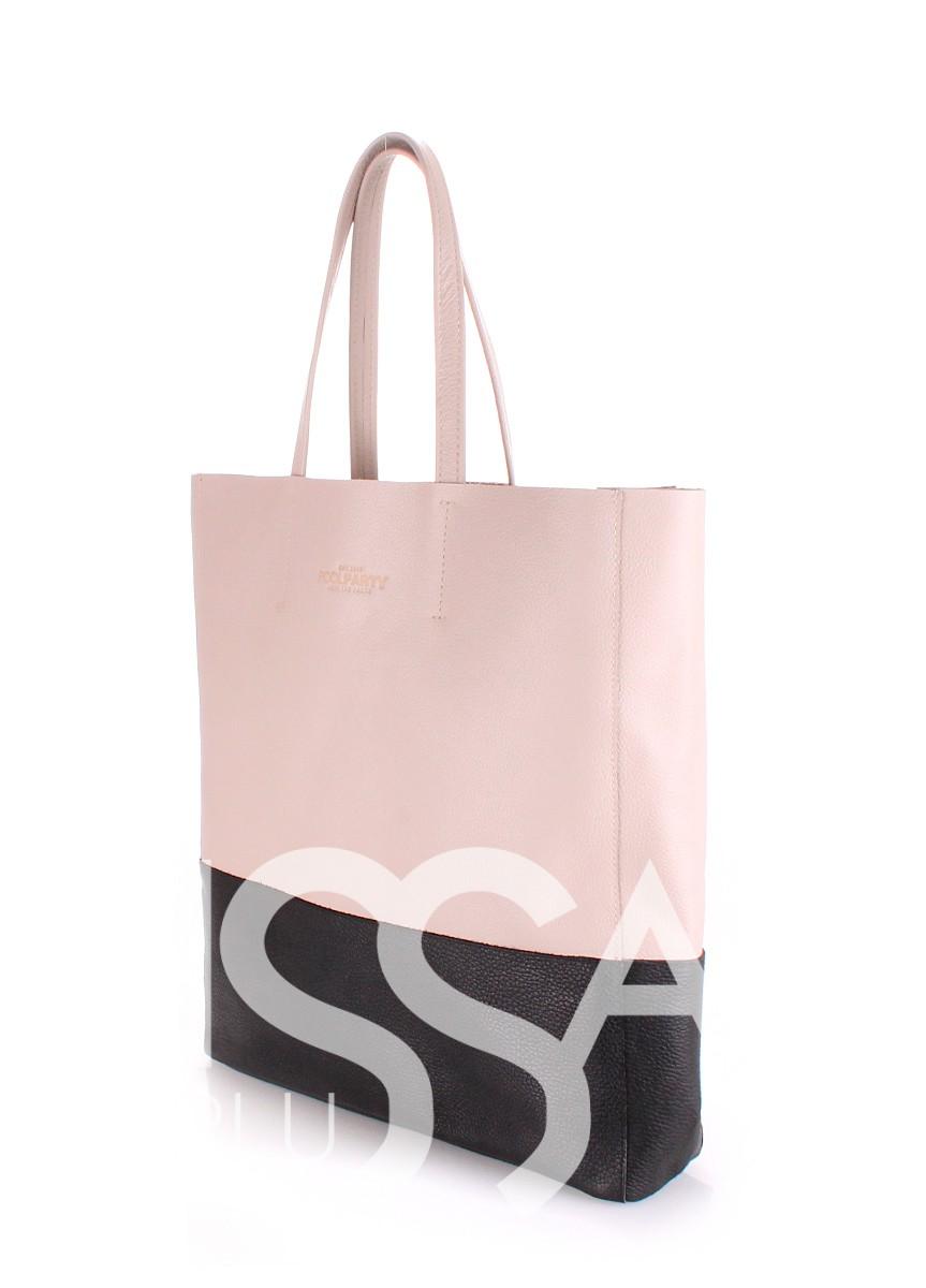 Бежевая сумочка City с черным низом из натуральной кожи