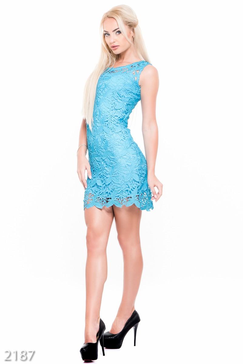 Платье голубого цвета короткое фото