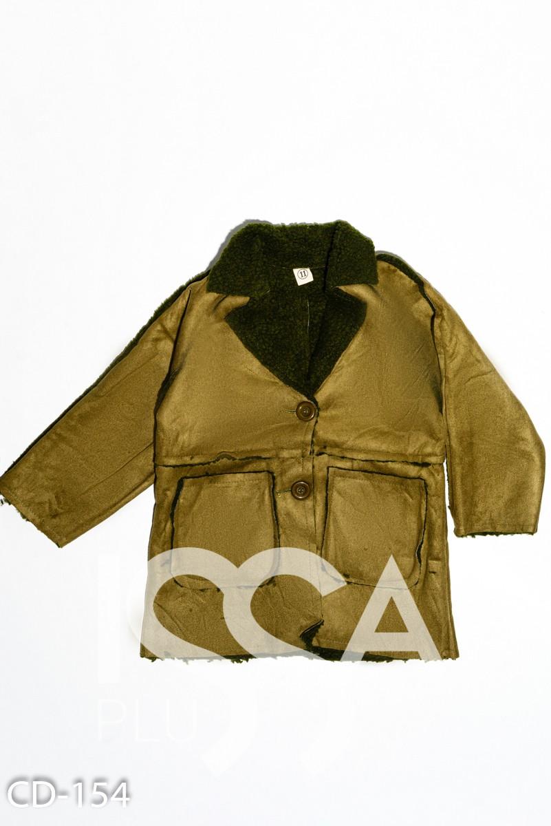 Куртка цвета хаки из нубука на меху