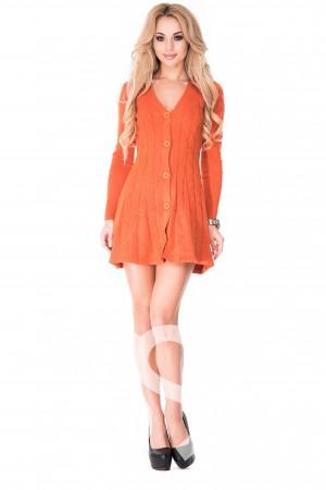 4137d064aa2 Оранжевое ангоровое теплое платье-кардиган на пуговицах с V-образным вырезом
