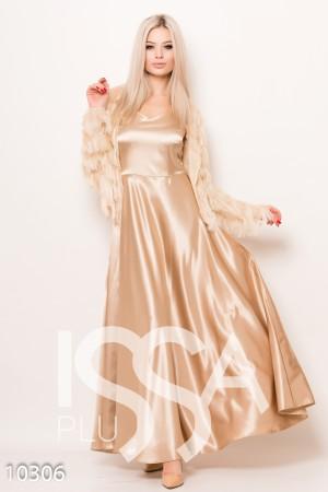 38c63c583404bd7 Бежевое вечернее атласное платье в пол на бретелях со съемным болеро