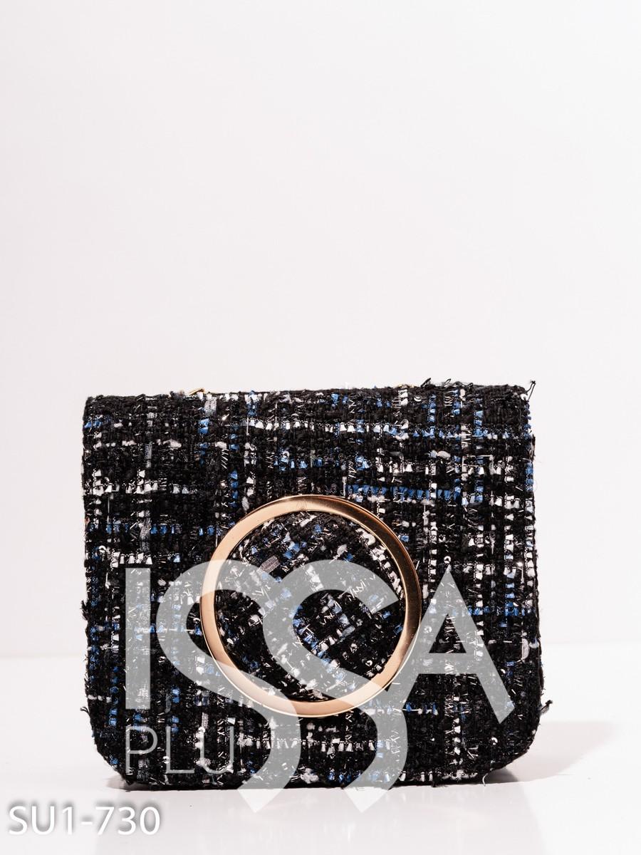 Твидовая черная сумка с объемным кольцом