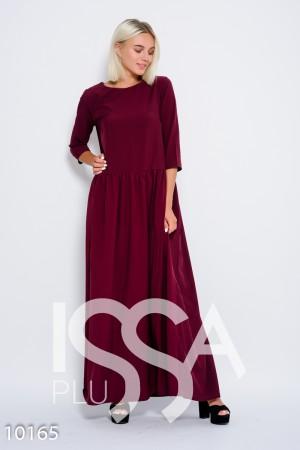 Бордовое длинное платье из софта с присборенной на талии юбкой и рукавами  до локтя 03e60f6d312