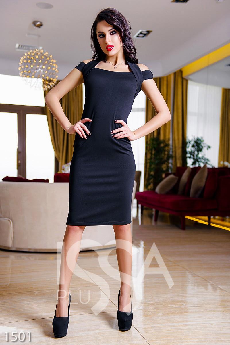 Платье черное миди с открытыми плечами